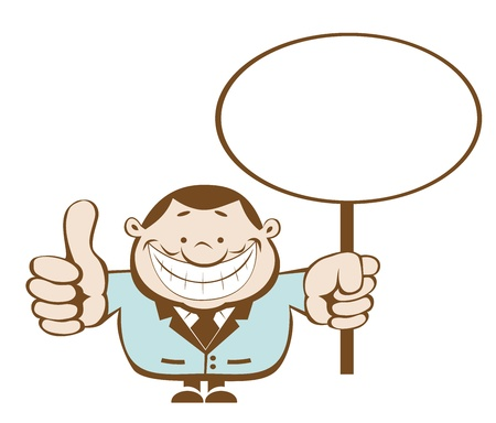 Smiling businessman holding blank sign. Separate layers Vector