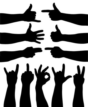 finger index: Set of 11  hand gestures on white. Vector illustration Illustration