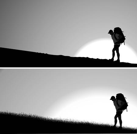 realización: Silueta del hombre con una mochila a subir la colina. Sol naciente en el fondo. Vector. Capas separadas