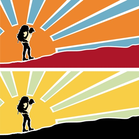 climbing gear: Man with a backpack going up the hill. Rising sun with rays  in the background. Vector. Separate layers