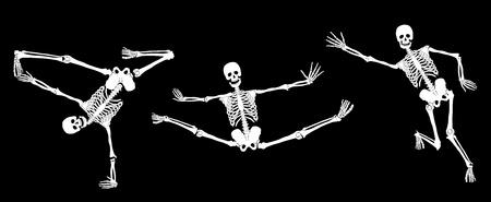 White active skeletons on black. Set #3. Vector Vector