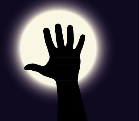 haloween: Haloween mano negro sobre un fondo blanco luna Vectores