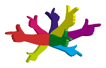 backward: Color hands pointing in different directions. Symbol.  Illustration