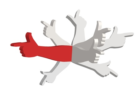 decide: Red hand and seven  gray  hands pointing in different directions Illustration