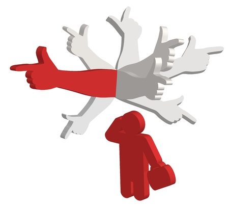 think up: Man thinking with color hands pointing in different directions above his head Illustration