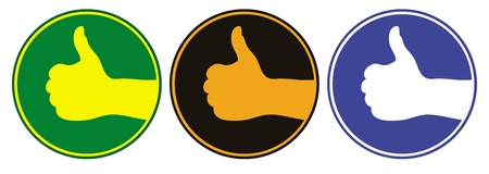 thumbsup: Three emblems with thumbs up signs in different colors. Illustration