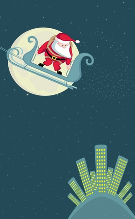 parachute jump: Santa in sleigh above the city before parachute jump. Vector Separate. layers. Illustration