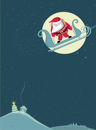 parachute jump: Santa in sleigh before parachute jump. Vector .Separate. layers
