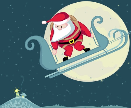 Santa with parachute in moon background. Vector Separate. layers. Stock Vector - 11407925