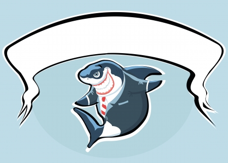 shark teeth: Cartoon smiling shark in the suit with copy space