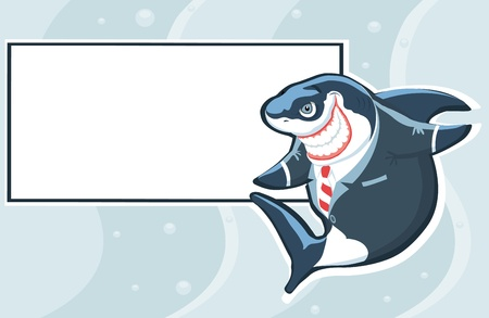 extravagant: Cartoon shark in the suit with copy space