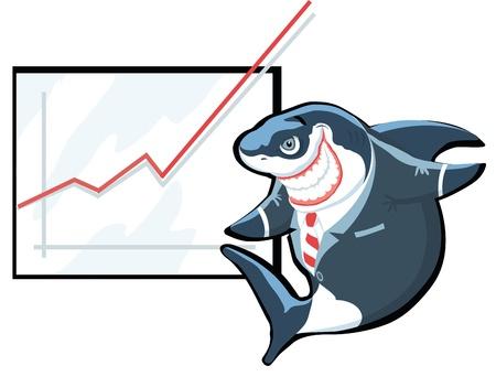 Successful cartoon shark in suit giving presentation Vector