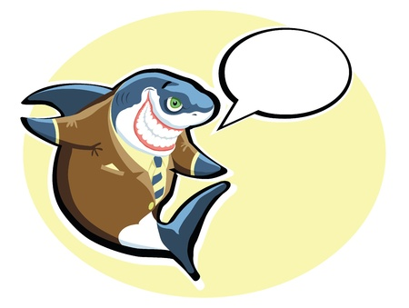 Cartoon shark in the suit with speech bubble Vector
