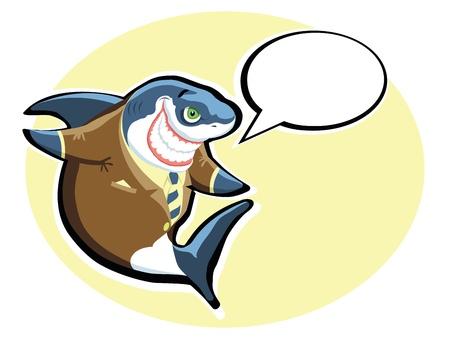 Cartoon shark in the suit with speech bubble Vector