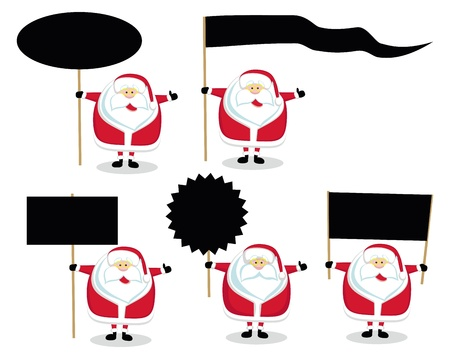 nameplate: Cartoon Santas holding different blank signs. Vector illustration