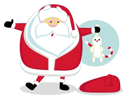 hocus pocus: Cartoon Santa holding a rabbit. Vector illustration