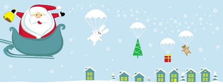 toy sack: Cartoon Santa with bell in sleight dropping presents with parachutes