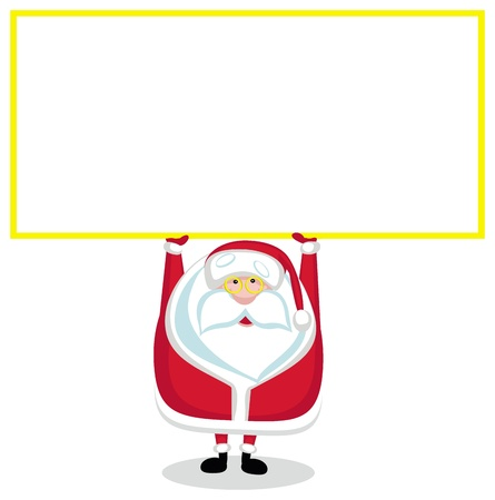 nameplate: Cartoon Santa with copy space. Vector illustration Illustration