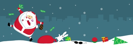 Singing Santa with lipstick marks, money and bottle lost his sack with toys. Vector