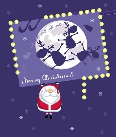 Comic Santa hanging on christmas billboard. Vector illustration Vector