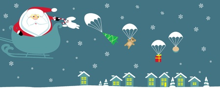 Cartoon Santa with bell in sleight dropping presents with parachutes. Vector