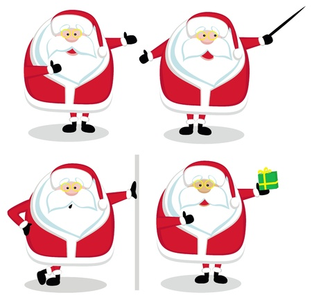 Four Santas in different positions. Vector illustration Vector