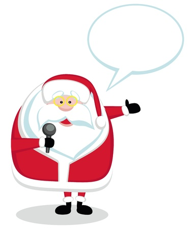 Cartoon Santa with microphone and speech bubble isolated. Vector illustration Vector