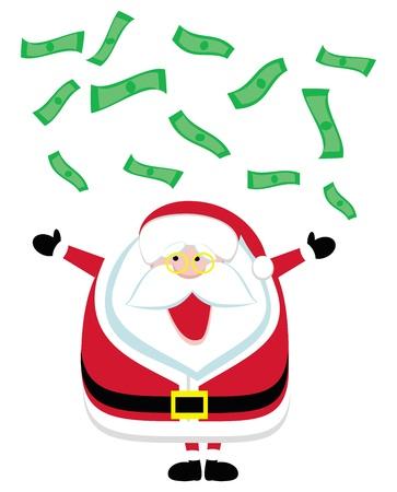 dollar bills: Cartoon di Santa cattura di banconote da un dollaro in caduta. Vector illustration
