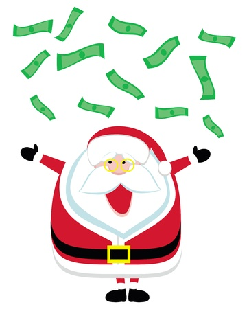 Cartoon Santa catching  falling dollar bills. Vector illustration Vector