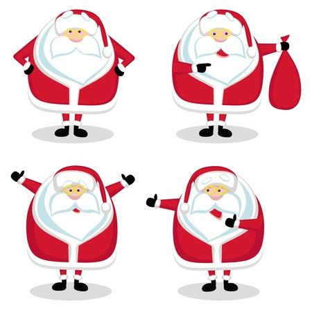 toy sack: Santa en diferentes posiciones aisladas. Ilustraci�n vectorial