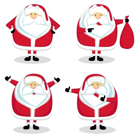 cartoon santa: Santa in different positions isolated. Vector illustration