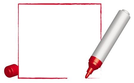 encircling: Text frame   and 3D red felt-tip pen. Vector