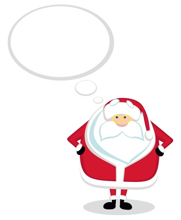 Cartoon Santa with thought bubble. Vector illustration Stock Vector - 11660599