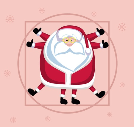 Santa Claus posed like Leonardo Stock Vector - 11660600