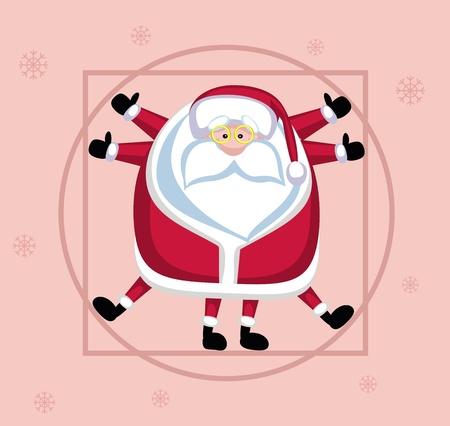 Santa Claus posed like Leonardo Vector