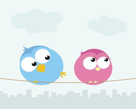 Two cartoon birds sitting on a wire. Vector illustration  Vector