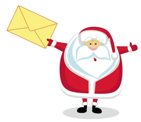 letter from santa:  Santa Claus holding envelope. Vector illustration Illustration
