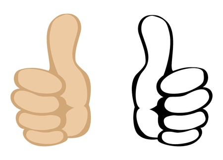 finger up: Thumbs up gesture. Vector Illustration
