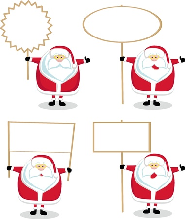 hands holding tree: Cartoon Santas holding blank signs. Vector illustration