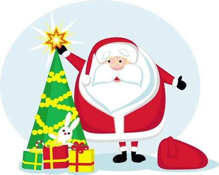 Cartoon Santa holding a star.Christmas tree and presents. Vector illustration Vector