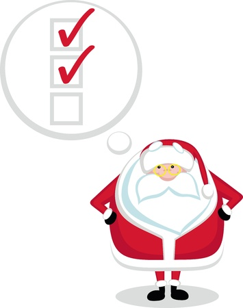 Cartoon Santa with thought  bubble and chekboxes. Vector  Stock Vector - 11659199