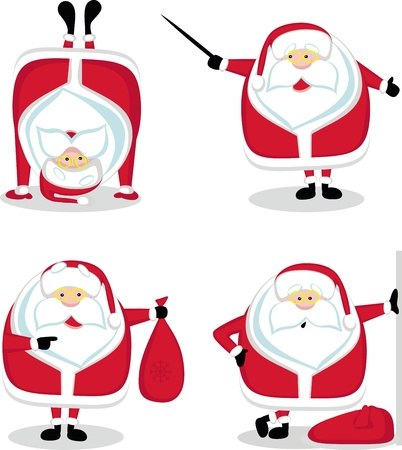 Santa in different positions. Vector illustration Stock Vector - 11659200