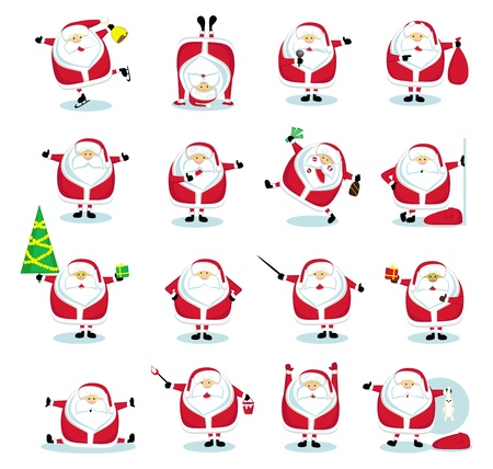 Cartoon Santa Claus in different positions. Vector illustration Vector