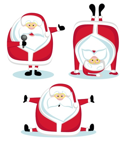Santa Claus in different positions. Vector illustration Stock Vector - 11657486