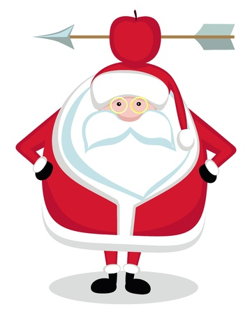 Santa With Red Apple and Arrow on Head. Vector Vector
