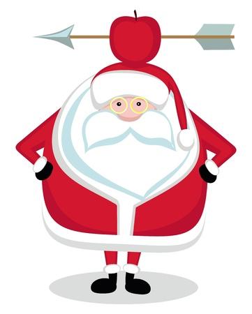 new arrow: Santa With Red Apple and Arrow on Head. Vector