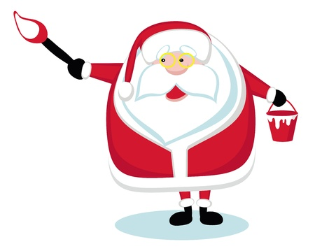 Cartoon Santa holding a paint brush. Vector