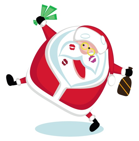 Singing Santa with lipstick marks, money and bottle . Vector Stock Vector - 11657076