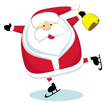 Santa with bell skating. Vector Stock Vector - 11657075