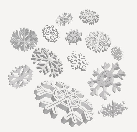 Falling 3D snowflakes. Stock Vector - 11681352